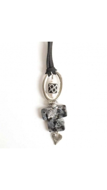 Stone Heart Pendant - Larvakite